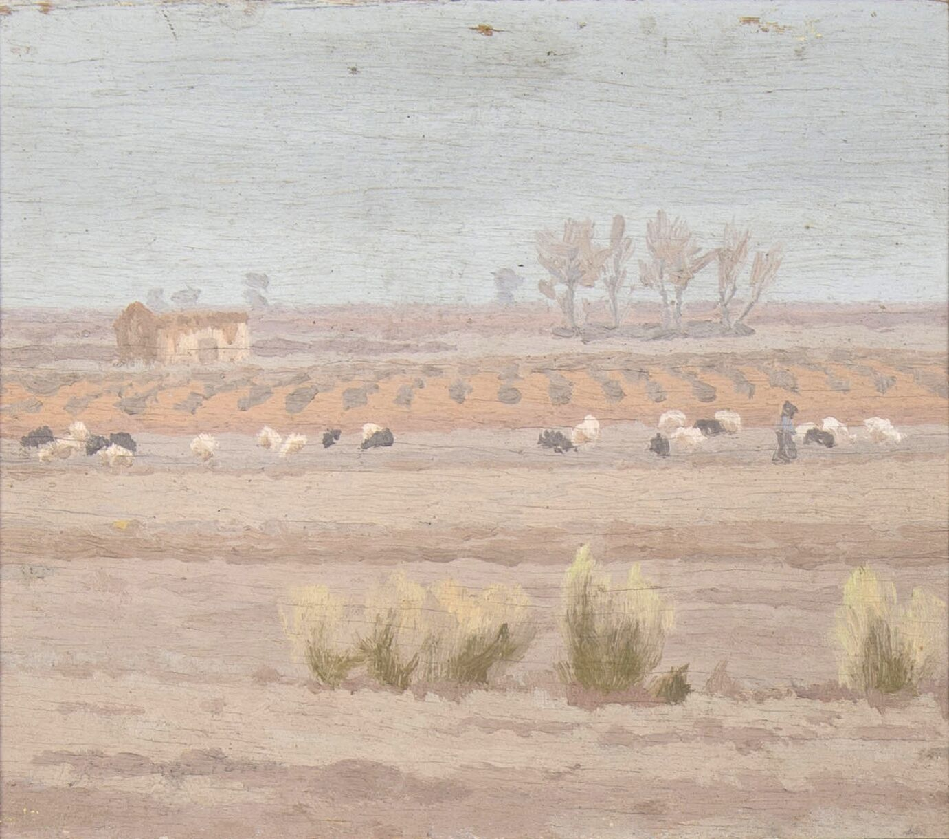 Winter landscape with a cattle